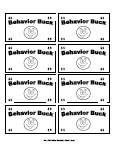 Printable Behavior Bucks, Reward Bucks