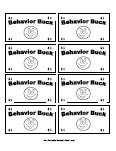 Printable Behavior Bucks Reward