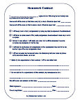 Printable homework contracts for elementary school
