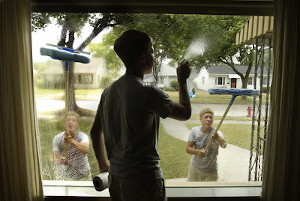 boys cleaning windows