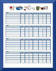 Weekly Chore Calendar Template | ExcelTemplate  |Monthly Chore Calendar