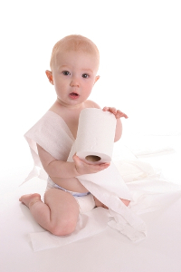 baby with toilet paper