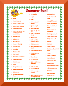 printable summer activities list