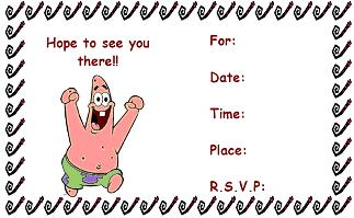 spongebob invitation